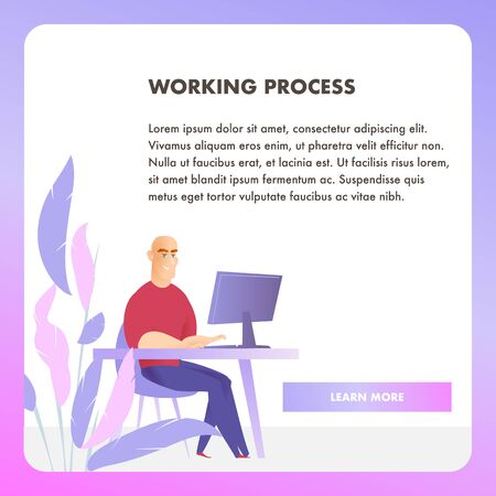 Businessman Character Working Process Web Banner. Corporate Employee Work at Table Workplace. Happy Sitting Office Man Concept for Website or Landing Page. Flat Cartoon Vector Illustration 版權商用圖片 - 133588395