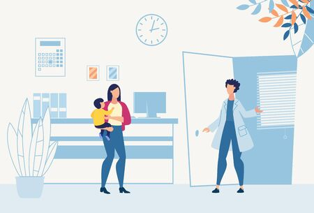 Mother with Son in Hands Visit Pediatrician for Consultation, Doctor Checkup or Vaccination. Friendly Practitioner Greeting Patient at Flat Cartoon Hospital Reception. Vector Illustration 版權商用圖片 - 133588416
