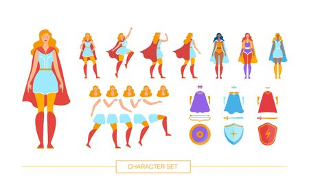 Superhero Character Constructor Isolated, Trendy Flat Design Elements Set. Female Superhero in Various Poses, Body Parts, Face Expressions, Colorful Cape, Face Mask, Shield and Weapon Illustrations