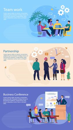 Set Bright Banner Inscription Business Conference. Flyer Written Partnership, Time Work. Household Office Needs. Men and Women Enter into Partnership Agreement. Vector Illustration. 向量圖像
