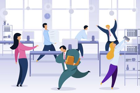 Work Rush, Office Chaos, Flat Vector Illustration. Busy, Stressed Office Workers Fussing Characters. Job Routine, Deadline. 版權商用圖片 - 133697724