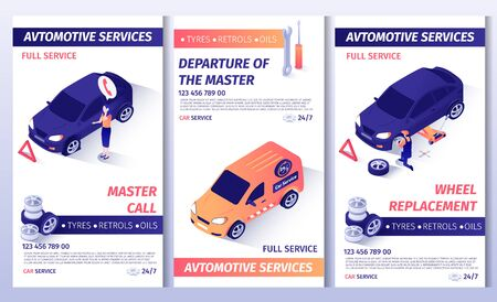 Automobile Service Editable Brochure. Set of Master Call Flyers with Telephone Number, Place for Text. Promotion Posters Offers Spare Parts for Sale and Wheel Replacement. Vector 3d Illustration
