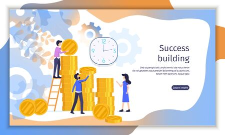 Successful Business Company, Investment Project Flat Vector Web Banner with Business people Counting Money, Planning Profit, Working Together Illustration. Time Management Service Landing Page Template 向量圖像