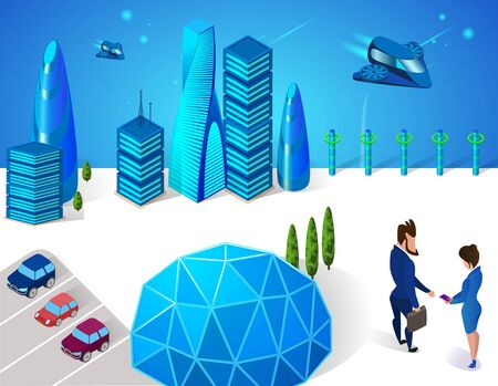 Business Man and Woman Handshaking near Sphere Glass Dome in Modern City with Futuristic Glass Buildings, Car Parking and Spaceships Transport Flying in Sky 3D. Isometric Cartoon Vector Illustration.