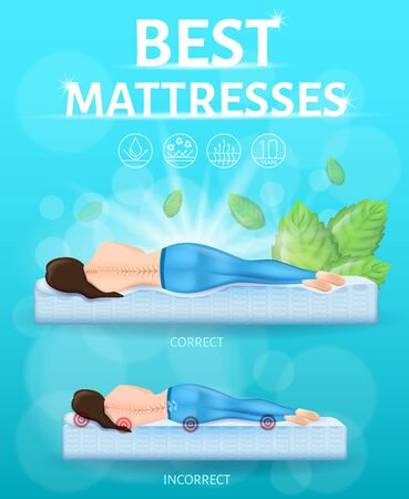 Best Orthopedic Mattress Realistic Vector Promo Banner or Poster with Correct and Incorrect or Traumatic Lying Positions During Sleep. Woman Lying on Orthopedic and Hard Spring Mattress Illustration  イラスト・ベクター素材