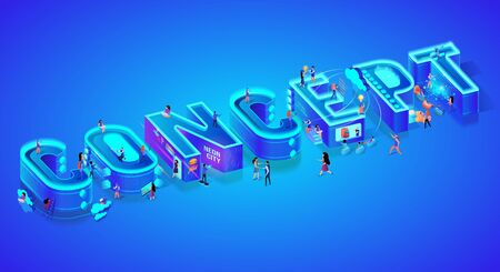 Isometric 3d Word Concept. Miniature City Characters. Users with Gadgets, Smartphones and Devices. Virtual and Augmented Reality, Chat bot, Cloud Storage System. Ultramarine Neon Vector Illustration. 向量圖像