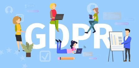 General Data Protection Regulation Flat Vector Banner. Internet Users Using Computers, Working, Making Purchases Online, Business Owner Collecting Information Illustration. Personal Data Protection 版權商用圖片 - 133697962