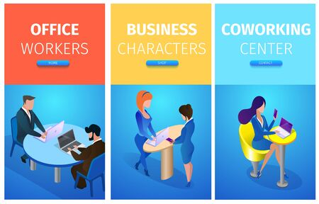 Office Workers, Business Characters, Co working Center Vertical Banners Set with Business people in Different Working Situations. Board Meeting, Communication. 3D Isometric Cartoon Vector Illustration 向量圖像