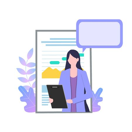 Businesswoman Cartoon Character with Report Paper Talk Presentation Vector Illustration. Professional Secretary Clipboard Personal Assistant Survey Female Office Worker Confident Girl 向量圖像