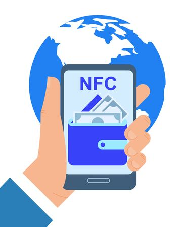 Hand Holding Mobile Phone NFC Payment App Vector Illustration. Contact less Purchase Internet Transaction Global Ecommerce Online Banking Credit Card Smartphone Shopping Virtual Wallet 版權商用圖片 - 133697974