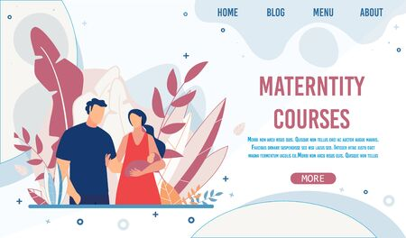 Maternity Training Courses. Cartoon Happy Mother Holding Newborn Baby in Hand. Husband and Wife with Infant. Creative Landing Page for Teaching Parents and Giving Information. Vector Flat Illustration