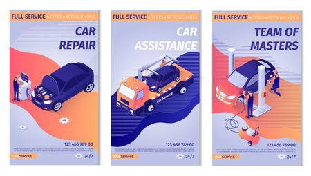 Set of Promo Vertical Posters for Car Service. Team of Masters Repairing Vehicle, Doing Computer Diagnostics, Painting Automobile. Offer of Evacuator Assistance. Vector Isometric 3d Illustration
