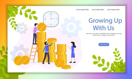 Fast Growing Business Investment Project Flat Vector Web Banner with Company Employees Working Together, Increasing Capital, Creating Wealth Illustration. Crowdfunding Campaign Landing Page Template 版權商用圖片 - 133697972