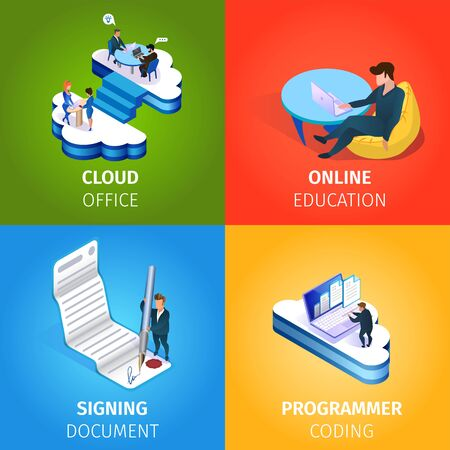 Cloud Office, Online Education, Signing Document, Programmer Coding Square Banners Set. Internet Technologies and Smart Devices in Human Life and Business. 3D Isometric Cartoon Vector Illustration
