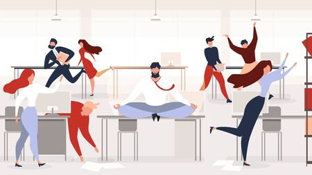 Keeping Calm at Workplace Flat Vector Concept with Businessman or Company Employee Meditating, Sitting in Lotus Pose on Desk in Middle of Noisy Office with Busy and Hurrying Colleagues Illustration Ilustrace