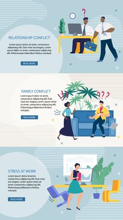 Set Advertising Flyer Relationship Conflict Flat. Poster is Written Family Conflict, Stress at Work. Save Money for Best Results. Misunderstanding in Workplace. Vector Illustration.