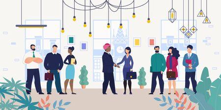 Geschäftstreffen für Verhandlungen mit ausländischem Partner oder Investor Flat Vector Concept mit Geschäftsfrau, Unternehmensführerin, die Hände mit indischem Geschäftsmann in Dastaar oder Turban Illustration schüttelt