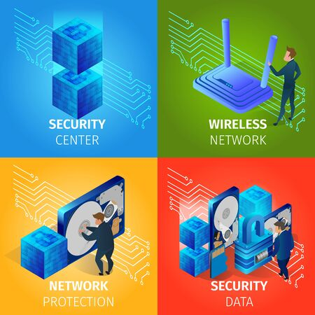 Security Data Center, Wireless Network Square Banners Set. Hosting Server Computer Monitoring Information Database. Information Protection from Hacker Attack. 3D Isometric Cartoon Vector Illustration.