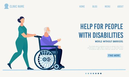 Clinic Landing Page Offer Help for Disabled People. Qualified and Professional Medical Support Assistance to Human with Disabilities. Nurse Carrying Old Cripple Man in Wheelchair. Vector Illustration