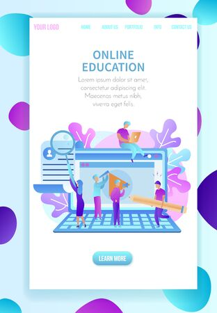 Huge Laptop, Young Studying People Around. Training Students Gaining Knowledge. Internet and Online Education. Vertical Banner with Copy Space and Abstract Ornament Border. Flat Vector Illustration.