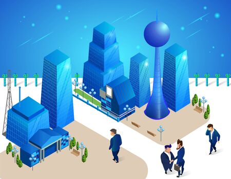 Businessmen Characters Moving among Futuristic Buildings and Skyscrapers in Modern Neon Glowing City.