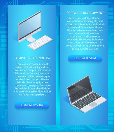 Computer Technology, Software Development Vertical Banners Set with Copy Space. Laptop and Personnel Computer on Blue Gradient Neon Background. Smart High-Tech Devices 3D Isometric Vector Illustration