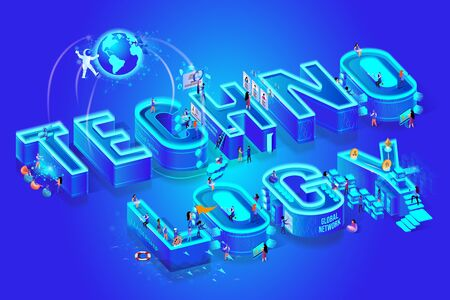 Technology 3d Neon Word. Little People Working on Creation Tech of Future with Smart Brain Computer and Machine and Use it in Life. Global Network. Augmented Reality Isometric Vector Illustration.
