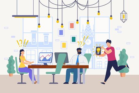 Smart New Idea for Business, Problem Unexpected Solution, Innovation in Work Flat Vector Concept. Company Office Workers Sitting at Desks, Surprised Because of Colleague Brilliant Idea Illustration 版權商用圖片 - 133698154
