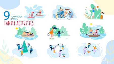 Summer, Winter Vacation Family Activities Trendy Vector Isolated Scenes Set. Parents with Kids Paddle Boarding, Riding Bicycle, Fishing on Boat, Playing Games, Ice-Skating Around Snowman Illustration 向量圖像