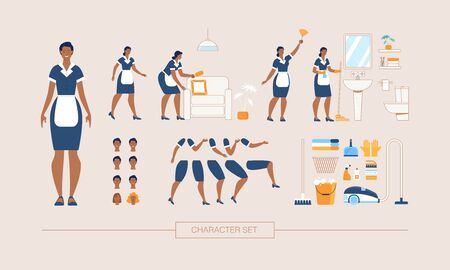 Hotel Cleaning Service Maid Character Constructor Isolated, Trendy Flat Design Elements Set. Working Female Servant in Uniform Various Poses, Body Parts, Face Expressions, Cleaning Tools Illustrations