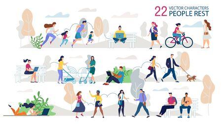 Rusten buiten mensen tekens Trendy Vector Set. Ouders met kinderen die samen joggen, studenten, freelancers zittend op de bank, paar wandelen met hond, dames ontmoeten elkaar in park Illustratie Vector Illustratie