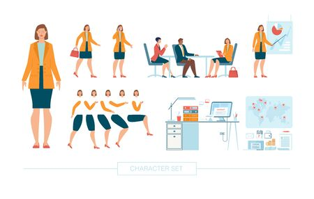 Businesswoman Character Constructor Isolated, Trendy Flat Design Elements Set. Female Business Leader Working in Office, Body Parts, Face Expressions, Work Table and Office Supplies Illustrations 向量圖像