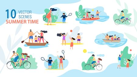 Family Summer Time Scenes, Summer Vacation Activities Trendy Vector Set Isolated on White Background. Parents with Kids Sailing and Fishing from Boat, Riding Bike, Playing Active Games Illustration 版權商用圖片 - 133698168