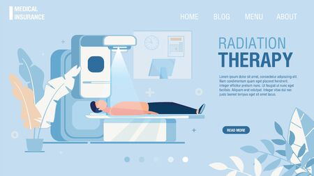 Página de aterrizaje plana que ofrece servicio de radioterapia. Tratamiento del cáncer con radioterapia. Tratamiento médico con rayos X para tumores cancerosos. Oncología RT. Seguro médico. Ilustración de dibujos animados de vector
