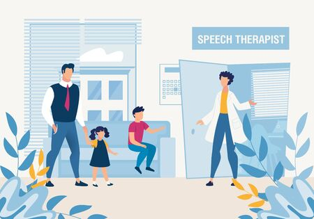 Father with Kids at Speech Therapist Consultation. Cartoon Doctor Welcome Parent with Son, Daughter. Special Pedagogical Science. Prevention, Detection, Elimination Disorders. Vector Flat Illustration