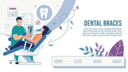 Landing Page Offering Dental Clinic Healthcare Service. Cartoon Dentist Serve Female Client Setting Braces. Dentistry Tooth Care. Stomatological Office. Informational Webpage. Vector Flat Illustration