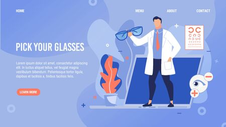 Glasses Selection Online Service. Flat Cartoon Lading Page. Doctor Ophthalmologists Offering Barnacles for Myopia and Hyperopia Correction. Ophthalmology Internet Store. Vector Illustration