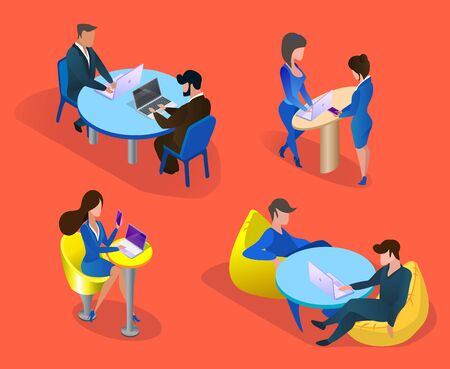 Business People Characters Set Isolated on Orange Background. Business Men and Women at Workplace, Communicating, Discussing Project, Working on Laptops. 3D Isometric Cartoon Vector Illustration