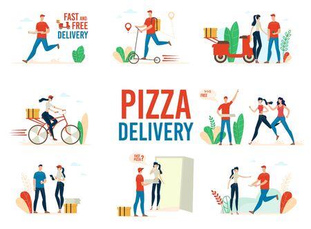 Fast Food restauracja Pizza usługi dostawy modny płaski wektor koncepcje zestaw na białym tle. Dostawca na skuterze, kurierka na rowerze dostarczająca zamówienia do klientów Ilustracje