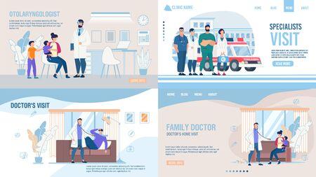 Medical Company Service Landing Page Trendy Flat Set. Examen oto-rhino-laryngologiste, médecins spécialistes, médecin de famille et pédiatre Visite à domicile Appel en ligne. Illustration de dessin animé de vecteur Vecteurs