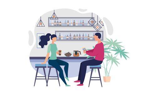Informational Flyer Office Bar, Cartoon Flat. Banner Desire to Discuss Something in Shared Kitchen. Guy and Girl in Casual Clothes Drink Coffee During Lunch Break. Vector Illustration.  イラスト・ベクター素材