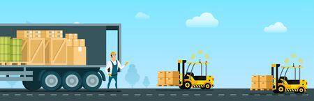 Automatic Forklift Car Carrying Freight to Truck. Open Delivery Van Full of Goods, Box, Tank. Warehouse Worker Character in Uniform Standing Infront. Flat Cartoon Vector Illustration