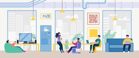 Coffee Break in Company Office Flat Vector Concept. Colleagues Drinking Coffee, Playing TV Games, Talking at Work, Freelancers Working and Resting Together in Coworking Center Office Illustration Vettoriali