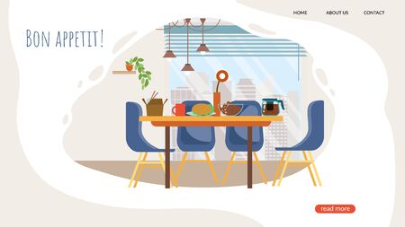 Advertising Banner Bon Appetit Lettering Cartoon. Flyer Staff Room in Modern Office. Creative Poster Dining Table is Set for Healthy Diet for Employees. Vector Illustration Landing Page.  イラスト・ベクター素材