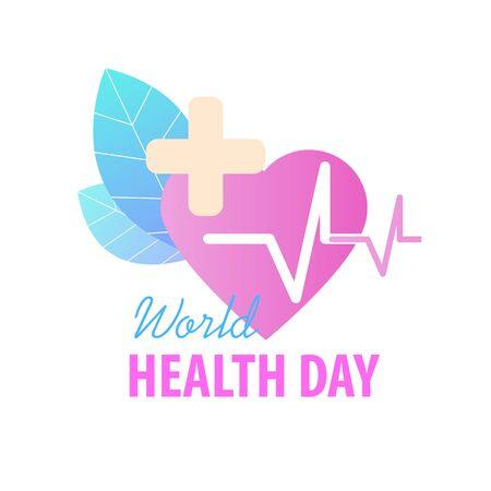 World Health Day Greeting Card Vector Illustration. 7 April Global Health Awareness Celebration Holiday. Medical Care Emblem Cardiology Heartbeat Heart Treatment Healthcare Background Vektorové ilustrace
