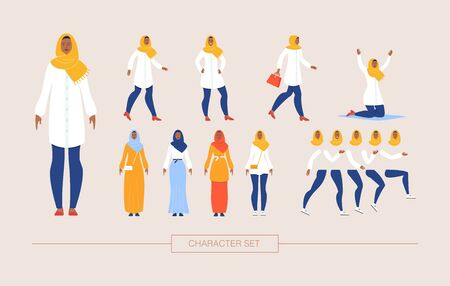 Muslim Woman in Traditional Hijab Character Constructor Isolated, Trendy Flat Design Elements Set. Religious Arab Lady in Various Poses, Body Parts, Emotion Expressions, National Wear Illustrations