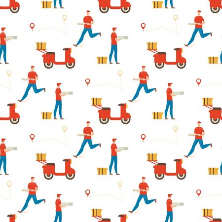 Pizza Delivery Service Trendy Flat Vector Seamless Pattern. Fast Food Restaurant Deliveryman in Uniform, Running While Delivering Order, Motor Scooter with Container Illustration on White Background