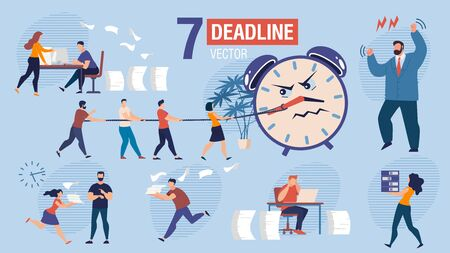 Missing Business Project Deadline Trendy Flat Vector Scenes Set. Businesspeople Characters, Office Workers Hurrying to Finish Work, Running with Documents, Angry Boss Arguing on Employees Illustration Çizim