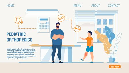 Flat Landing Page for Pediatric Orthopedics Service. Little Boy with Injured Knee at Doctor Appointment. Traumatologist Giving Consultation and Prescribing Treatment. Vector Cartoon Illustration