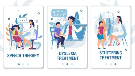 Online Service for Speech Therapy, Dyslexia and Stuttering Treatment Mobile Flat Landing Page Set. Medical Wepages for Social Media Network. Therapist Working with Kids. Vector Cartoon Illustration